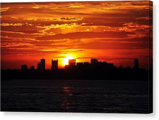 Boston Skyline Sunset Canvas Print