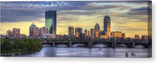 Boston Skyline Sunset Over Back Bay Panoramic Canvas Print