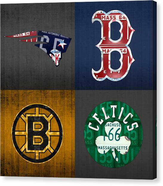 Boston Canvas Print - Boston Sports Fan Recycled Vintage Massachusetts License Plate Art Patriots Red Sox Bruins Celtics by Design Turnpike