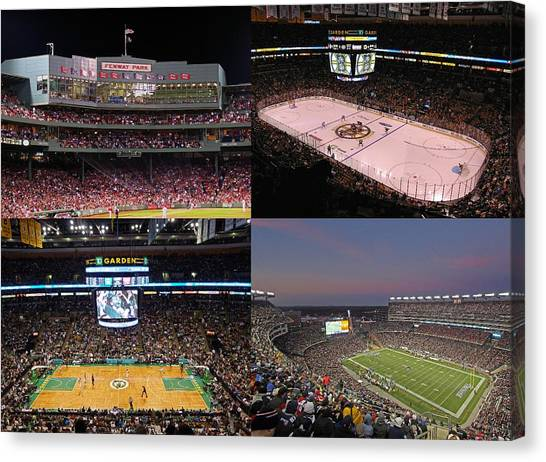 Hockey Players Canvas Print - Boston Sports Teams And Fans by Juergen Roth