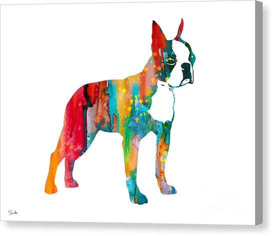 Boston Terrier Canvas Print - Boston Terrier 2 by Watercolor Girl