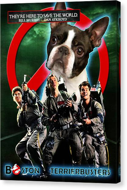 Ghostbusters Canvas Print - Boston Terrier Art Canvas Print - Ghostbusters Movie Poster by Sandra Sij