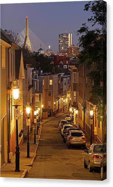 Night Lights Canvas Print - Boston View From Charlestown by Juergen Roth
