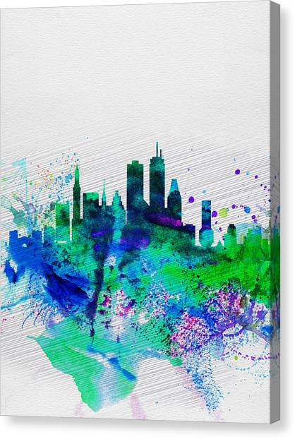 Boston Canvas Print - Boston Watercolor Skyline by Naxart Studio