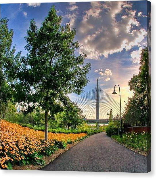 Massachusetts Canvas Print - #boston #zakimbridge #zakim #bridges by Joann Vitali