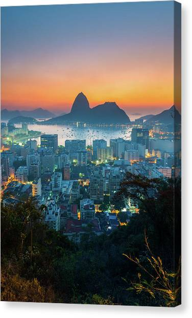 Botafogo Bay With Sugar Loaf At Sunrise Canvas Print by Flavio Veloso