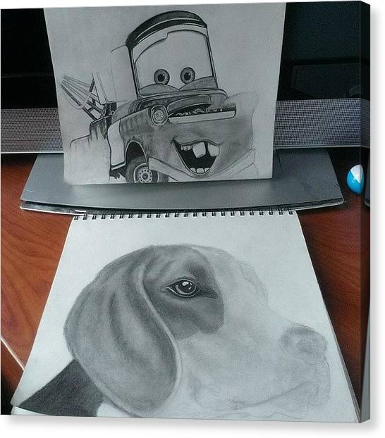 Beagles Canvas Print - Both The Projects I'm Working On This by Brian Evans
