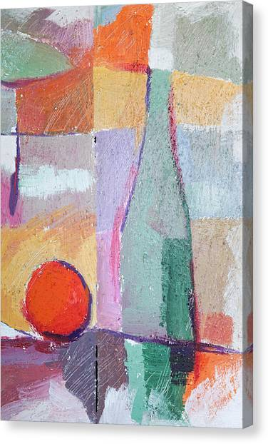 Dinner Table Canvas Print - Bottle And Orange by Lutz Baar