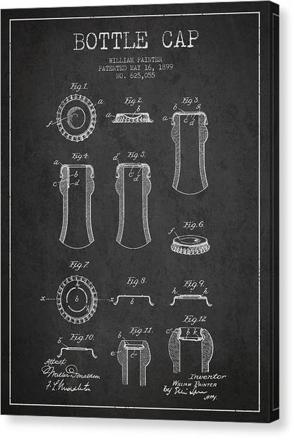 Glass Bottle Canvas Print - Bottle Cap Patent Drawing From 1899 - Dark by Aged Pixel