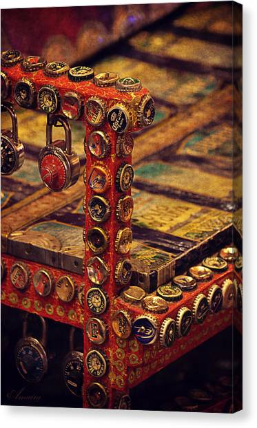 Bottle Caps Chair Canvas Print by Maria Angelica Maira