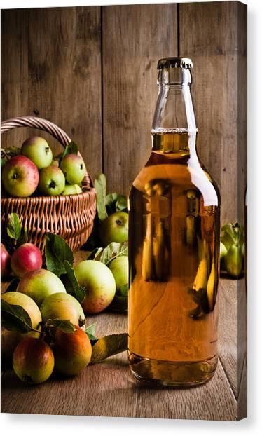 Cider Canvas Print - Bottled Cider With Apples by Amanda Elwell