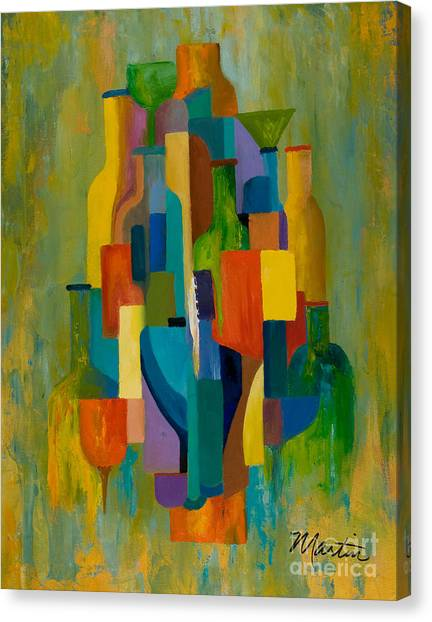 Cubism Canvas Print - Bottles And Glasses by Larry Martin