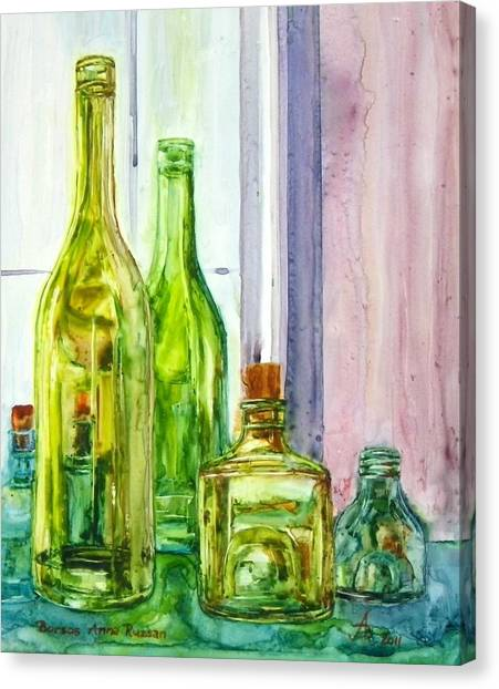 Bottles - Shades Of Green Canvas Print