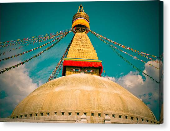 Boudhanath Stupa In Nepal With Blue Sky Canvas Print