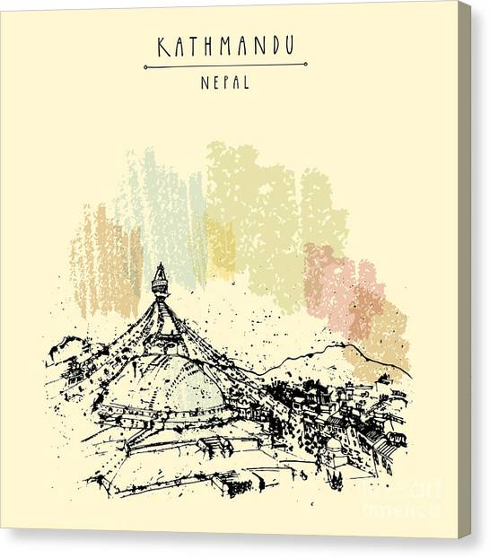 Worship Canvas Print - Boudhnath, Boudha. Tibetan Temple In by Babayuka