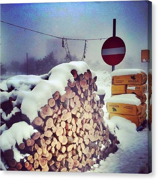 Snow Canvas Print - Bought Some Woods For The Fire! by Abdelrahman Alawwad
