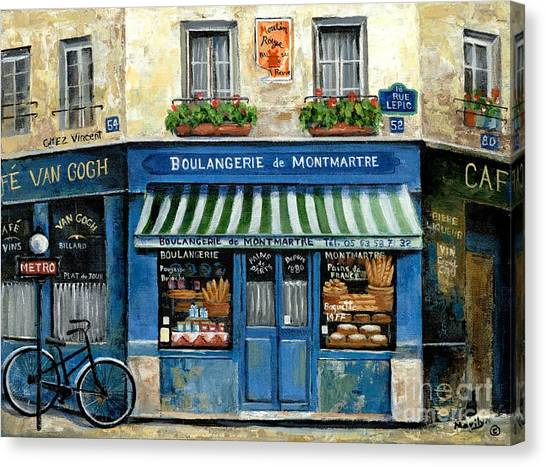 Flower Shop Canvas Print - Boulangerie De Montmartre by Marilyn Dunlap