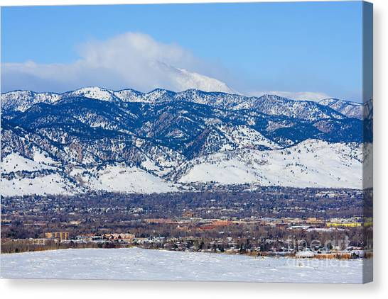 University Of Colorado Canvas Print - Boulder And Longs Peak by Steve Krull