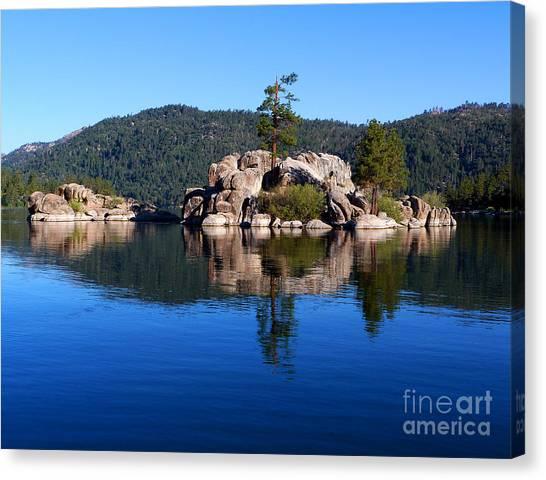 Boulder Island - Big Bear Lake Canvas Print by Karey and David Photography
