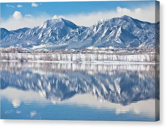 Boulder Reservoir Flatirons Reflections Boulder Colorado Canvas Print
