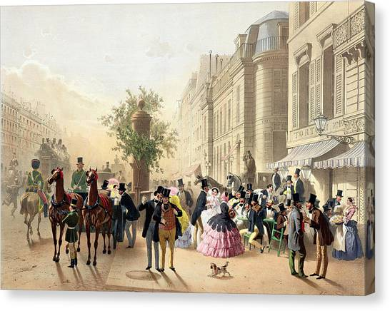 Horse And Carriage Canvas Print - Boulevard Des Italiens From Physionomies De Paris by Eugene Charles Francois Guerard