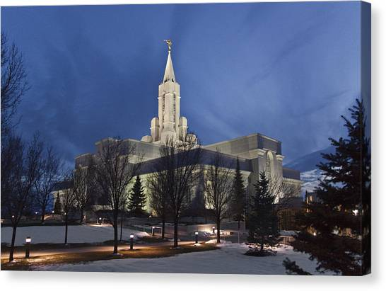 Bountiful Utah Temple In Winter Canvas Print