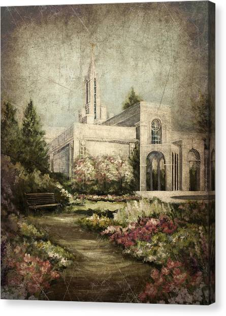 Bountiful Utah Temple-pathway To Heaven Antique Canvas Print