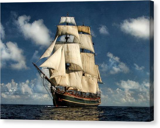 England Canvas Print - Bounty Making Way by Peter Chilelli
