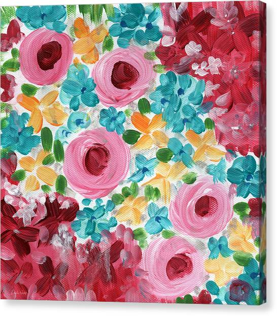 Daisy Canvas Print - Bouquet- Expressionist Floral Painting by Linda Woods
