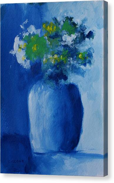Bouquet In Blue Shadow Canvas Print
