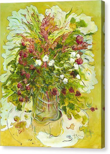 Bouquet Jaune - Original For Sale Canvas Print by Bernard RENOT