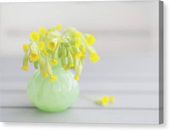 Vase Of Flowers Canvas Print - Bouquet Of Cowslip Primrose by Elin Enger