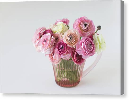 Vase Of Flowers Canvas Print - Bouquet Of  Pink Ranunculus by Elin Enger