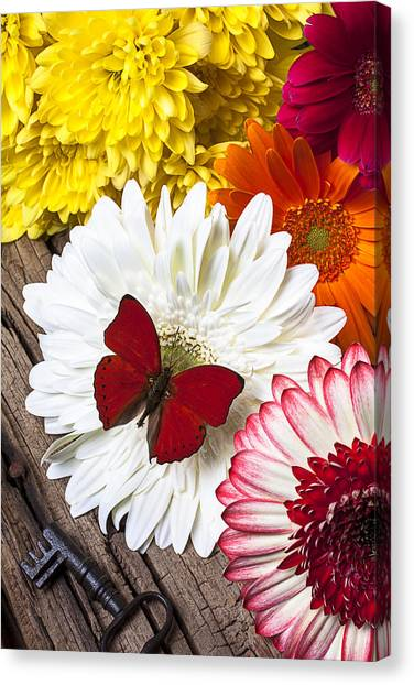Pom-pom Canvas Print - Bouquet With Red Butterfly by Garry Gay