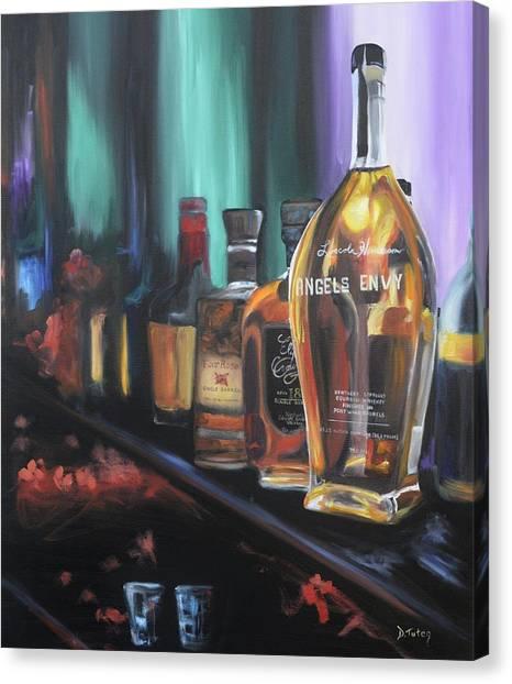 Bourbon Canvas Print - Bourbon Bar Oil Painting by Donna Tuten