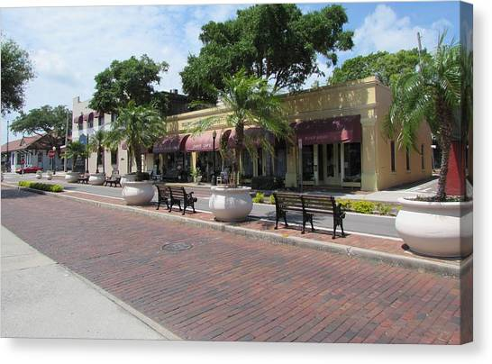Boutiques In Tarpon Springs Canvas Print by Nancy Hopkins
