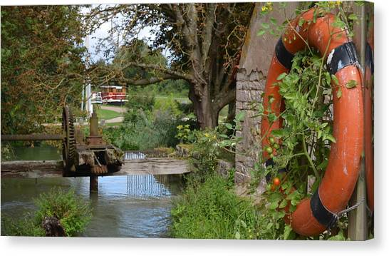 Bouy By Canal Canvas Print