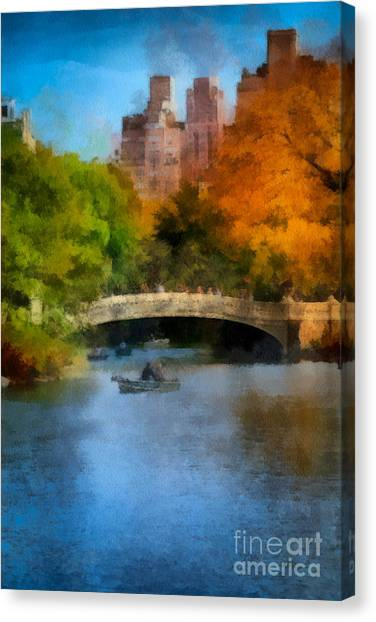 Rowboats Canvas Print - Bow Bridge Central Park by Amy Cicconi