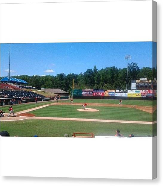 Bases Canvas Print - @bowiebaysox Game #baseball #base #ball by Dick Stone