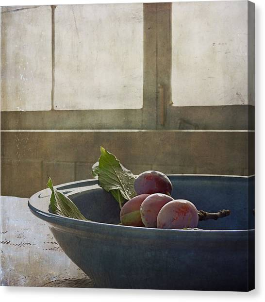 Bowl Full Of Plums Canvas Print