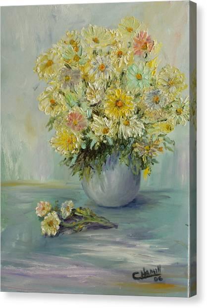 Bowl Of Daisies Canvas Print