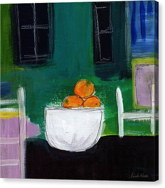 Kitchen Window Canvas Print - Bowl Of Oranges- Abstract Still Life Painting by Linda Woods