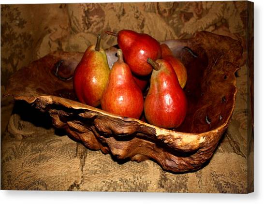 Bowl Of Pears - Still Life Canvas Print