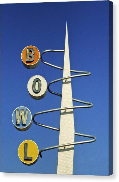 Bowling Alley Canvas Print - Bowl Sign by Matthew Bamberg