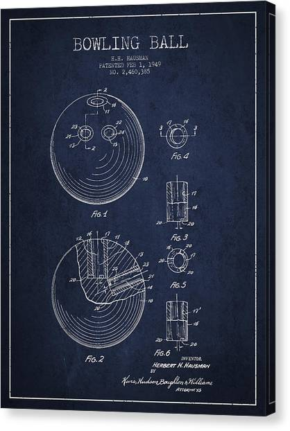 Bowling Alley Canvas Print - Bowling Ball Patent Drawing From 1949 by Aged Pixel