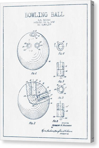 Bowling Canvas Print - Bowling Ball Patent Drawing From 1949 - Blue Ink by Aged Pixel
