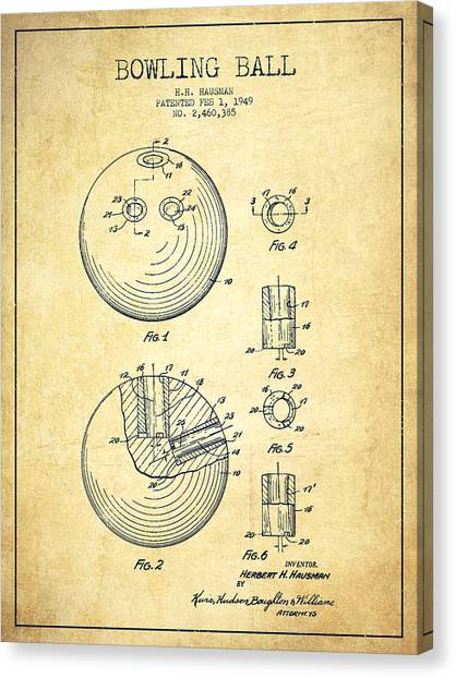 Bowling Ball Canvas Print - Bowling Ball Patent Drawing From 1949 - Vintage by Aged Pixel