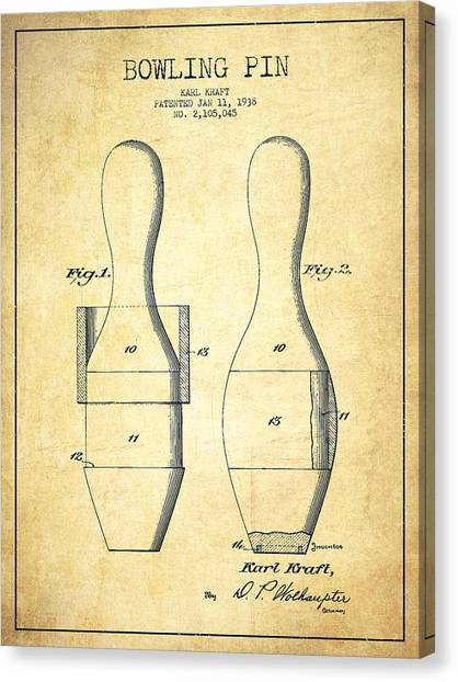 Bowling Canvas Print - Bowling Pin Patent Drawing From 1938 - Vintage by Aged Pixel