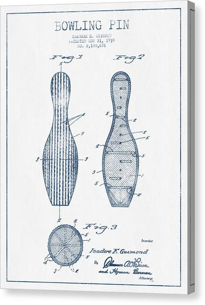 Bowling Ball Canvas Print - Bowling Pin Patent Drawing From 1939 - Blue Ink by Aged Pixel