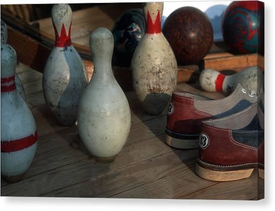 Bowling Shoes Canvas Print - Bowling Pins by Harold E McCray